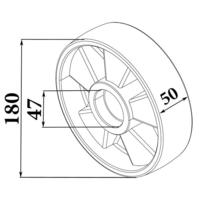 Колесо рулевое П/А для рохли (180*50 мм) фото 3