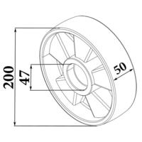 Колесо рулевое П/А для рохли (200*50 мм) фото 3