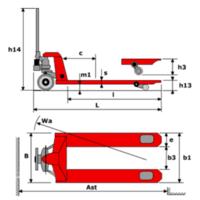 Тележка гидравлическая OL25-PU080 /W450 (ширина 450 мм / длина вил 800 мм) фото 2